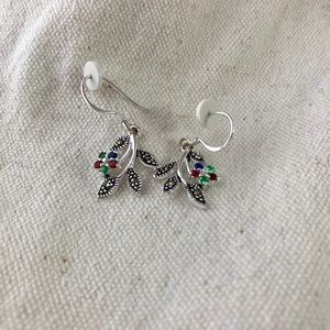 silver plated colorful flower earrings